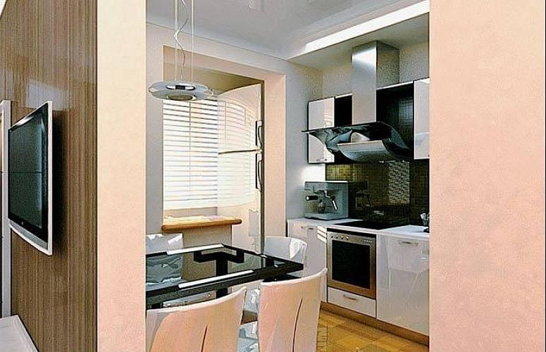 Кухня совместно с балконом фото.