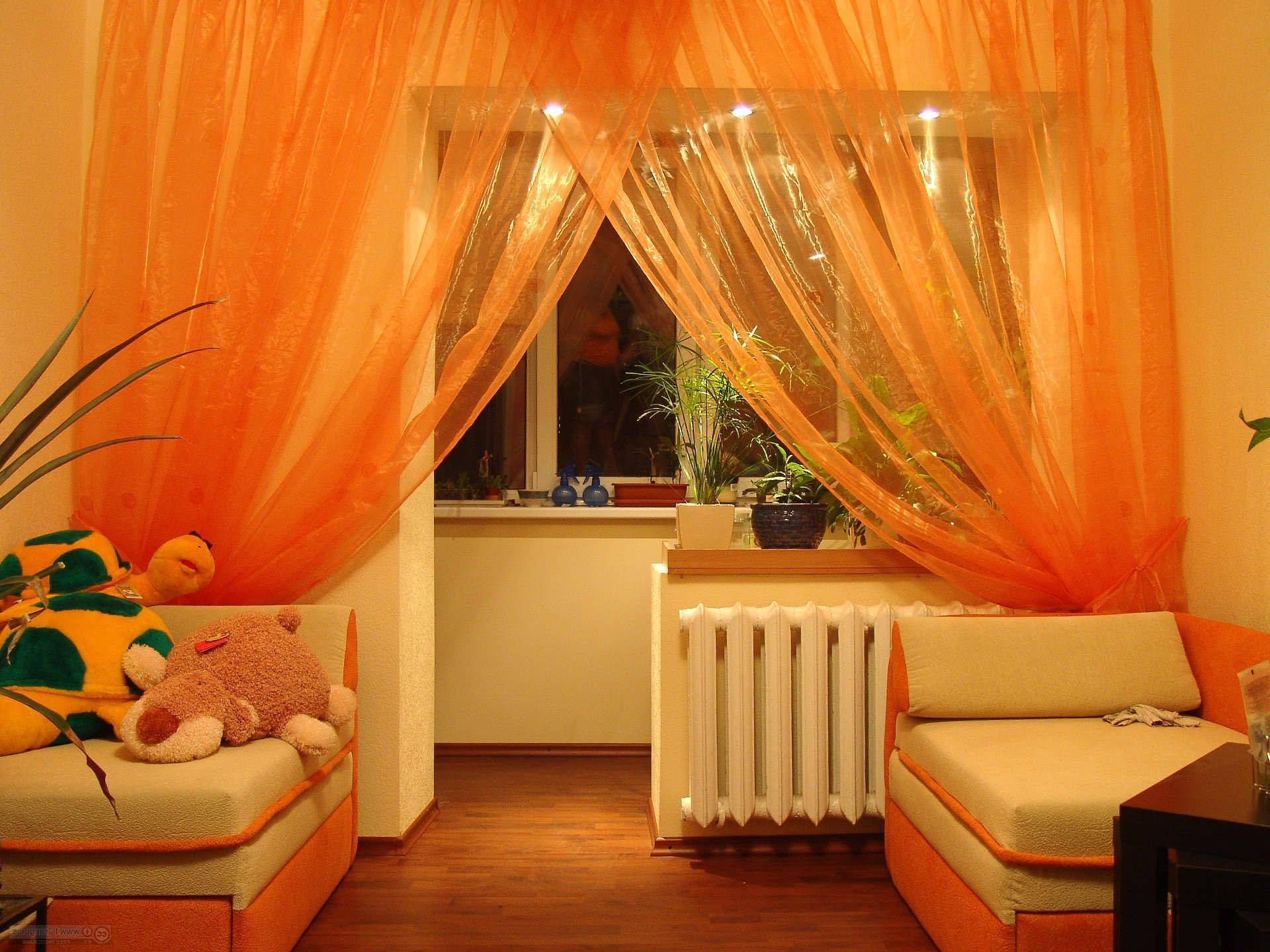 Дизайна штор для комнаты совмещенной с балконом.