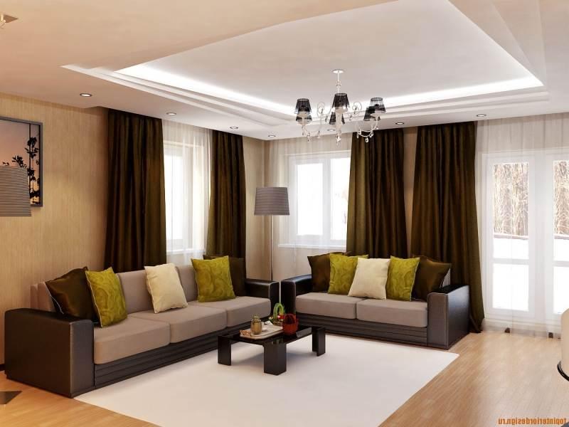 цветовое решение потолка и стен гостинной можно