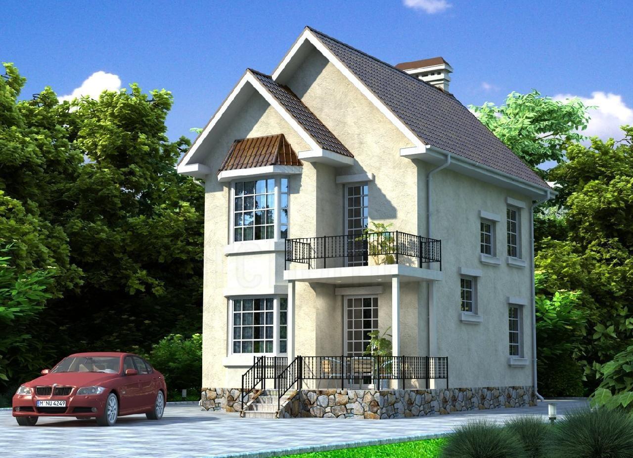 Двухэтажный жилой дом с эркером и балконом 83 кв.м ас-06-а.