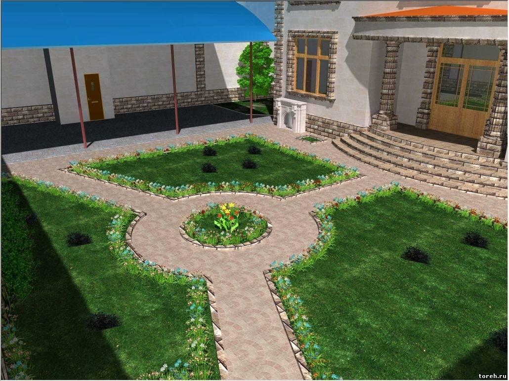 Оформление двора частного дома своими руками сам