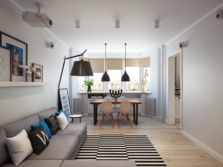 Дизайн-проект квартиры в скандинавском стиле с обеденным сто.