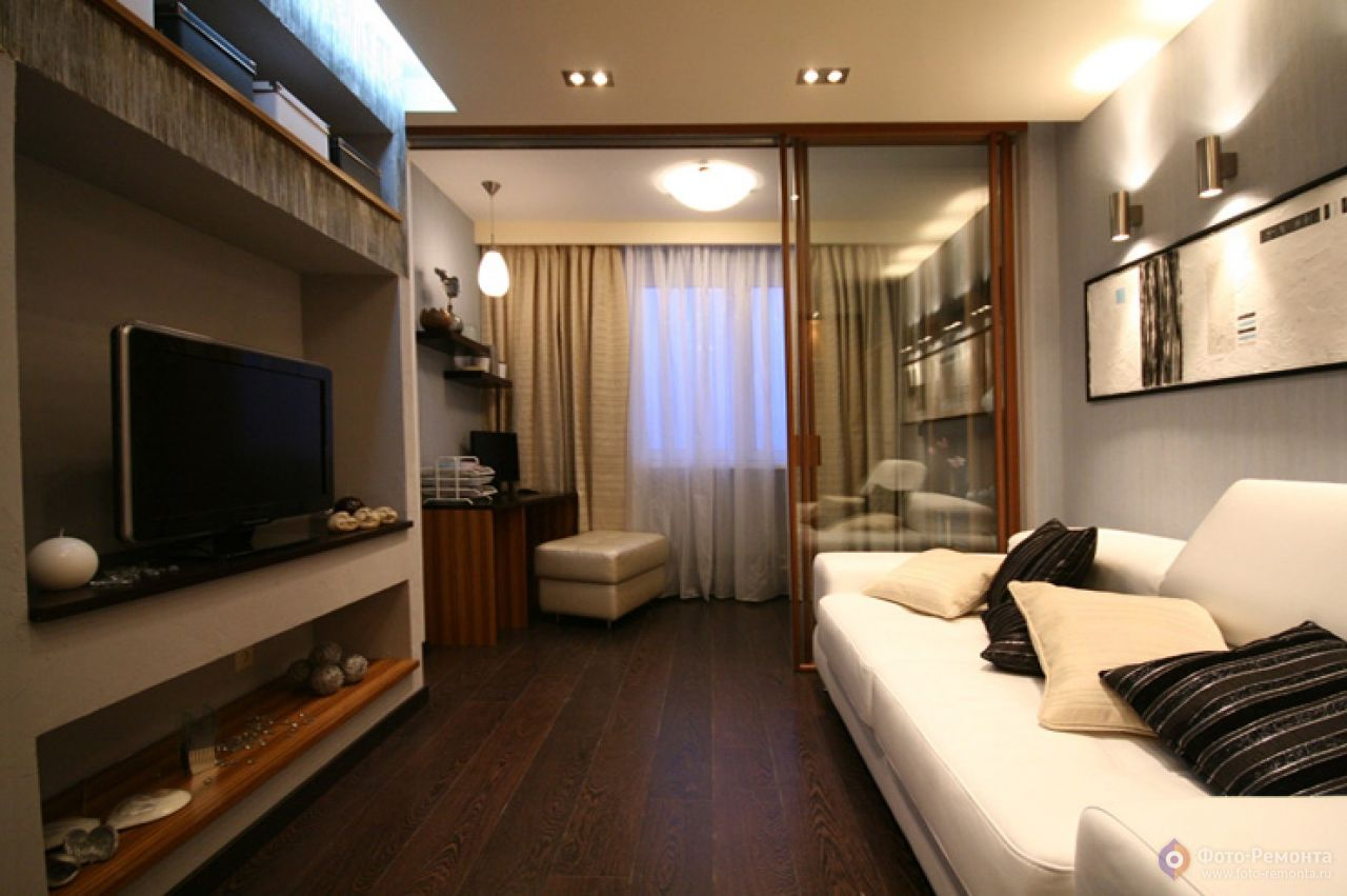"""Дизайн прямоугольной комнаты с балконом фото """" картинки и фо."""
