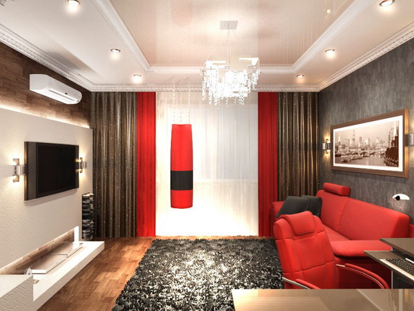 Дизайн для прямоугольной гостиной.