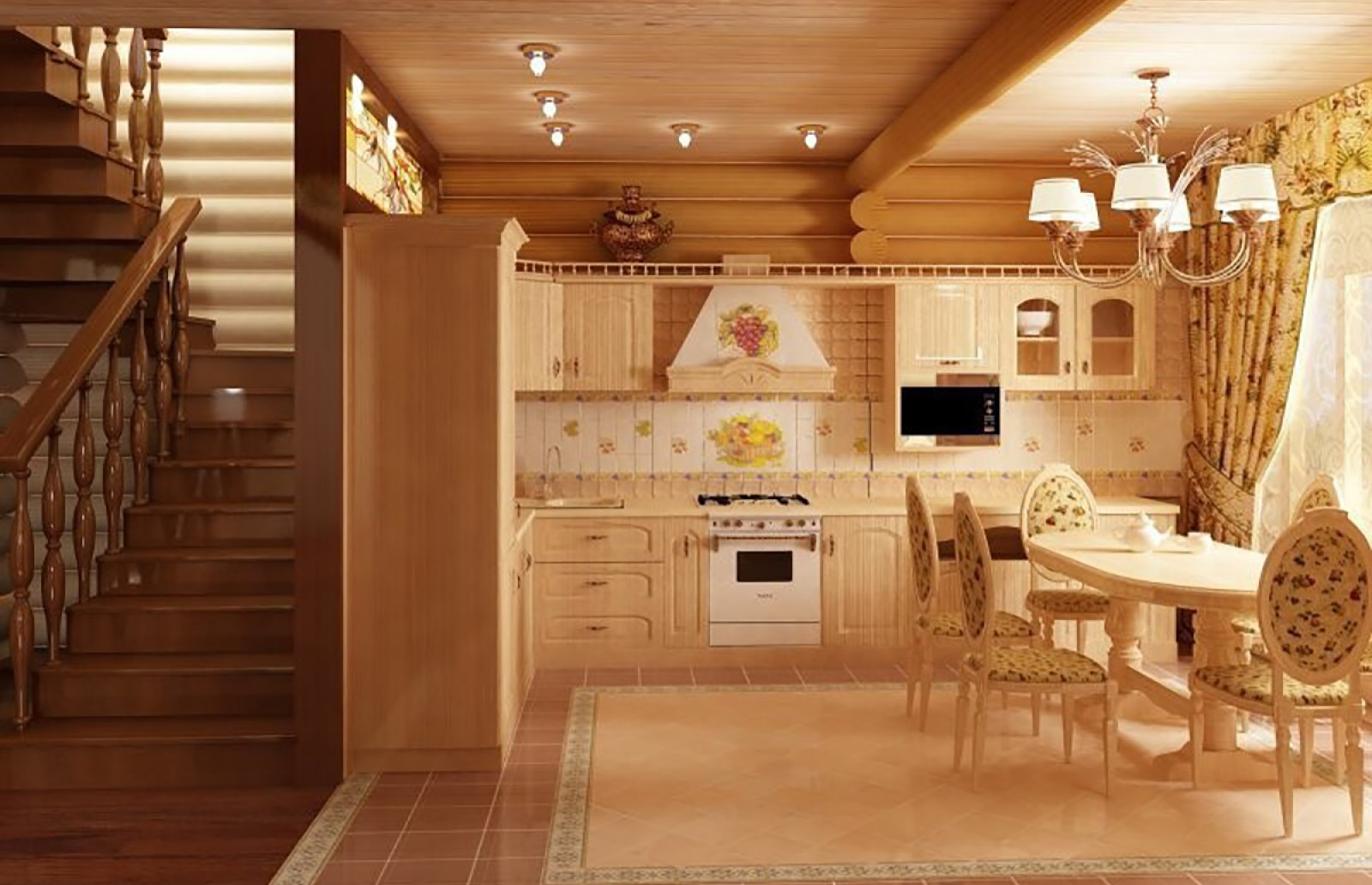 маленькая кухня в деревянном доме дизайн фото