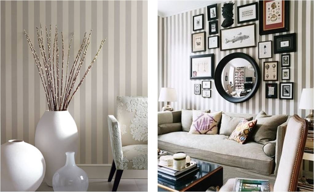 полосатые обои фото в интерьере