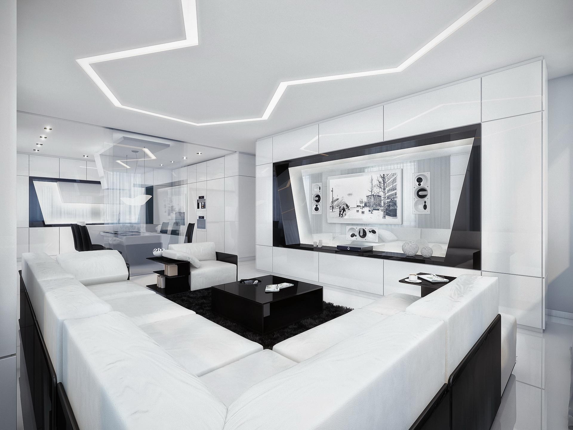 каких дизайн зала в белом цвете музыка