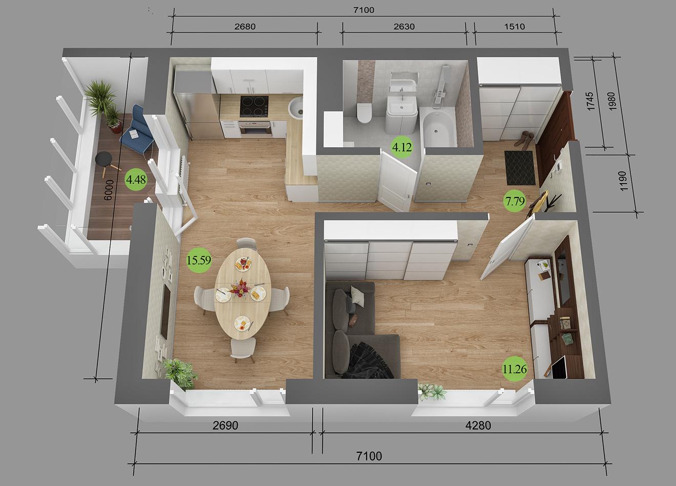 Перепланировка квартир 36 метров с лоджией торцевых.