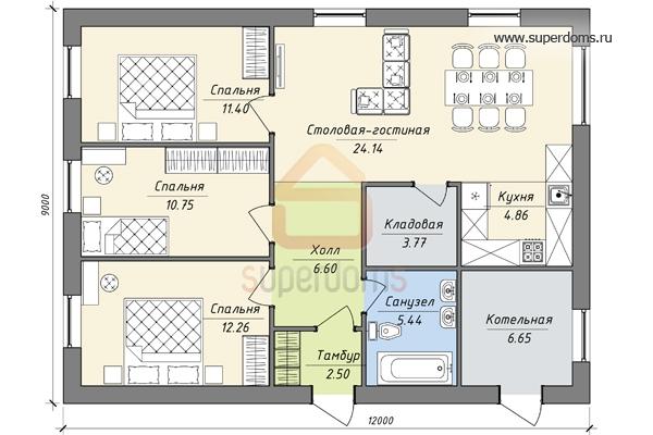 необходимо проект одноэтажного дома 9на 12 с четырьмя спальнями термобелье будет