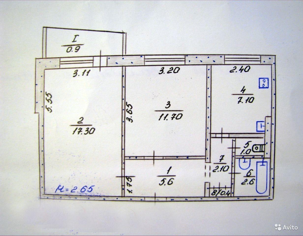 """План 2-х комнатной квартиры в панельном доме """" картинки и фо."""