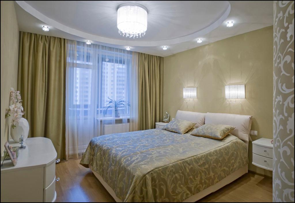 Дизайн спальни потолков.