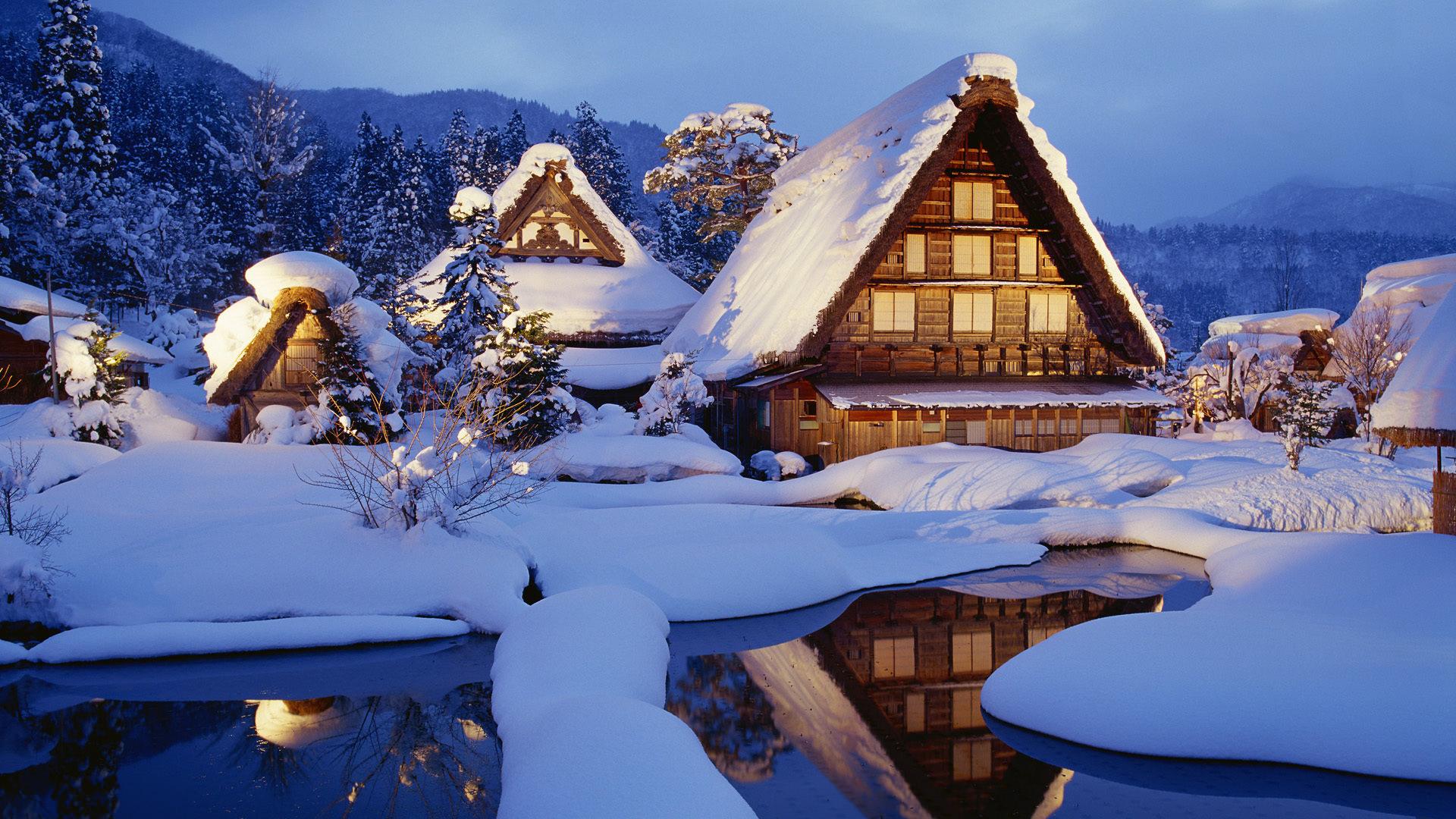 Домик снег зима без регистрации