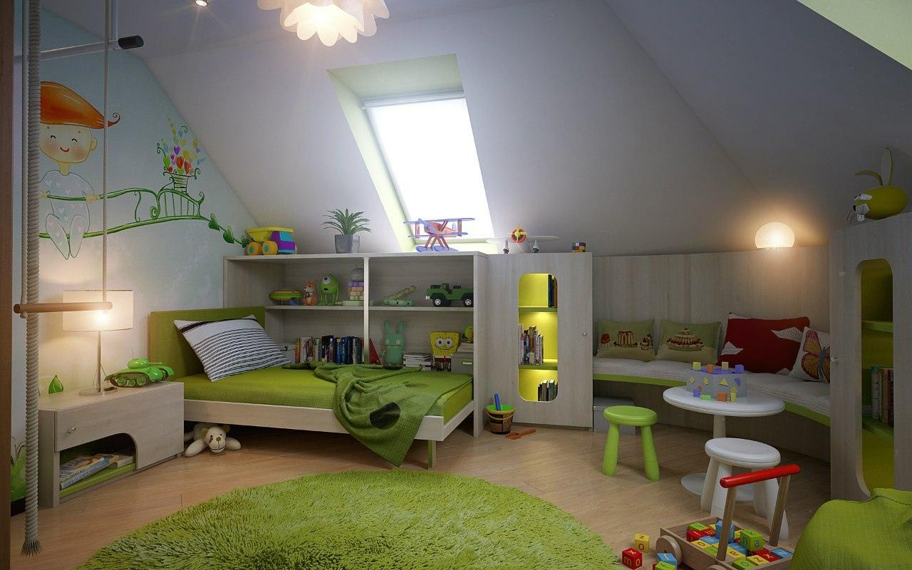 Детская на мансарде фото dipris-studio.