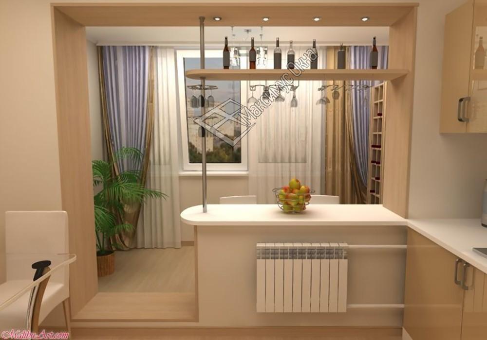 Комната и кухня с выходом на лоджию.