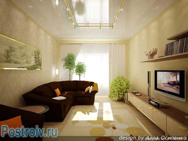 Дизайн зала в хрущевке прямоугольной формы.