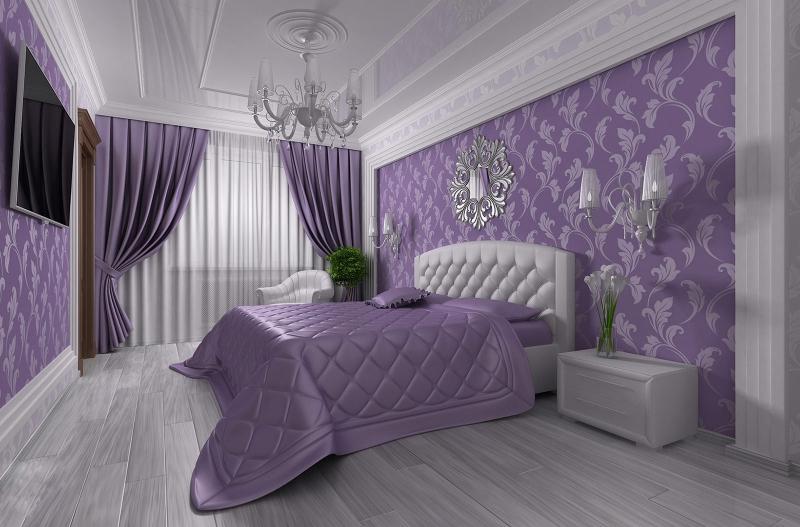 Фото спальни сиреневого цвета фото