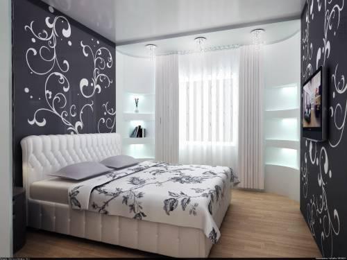 Дизайн черно белой спальни