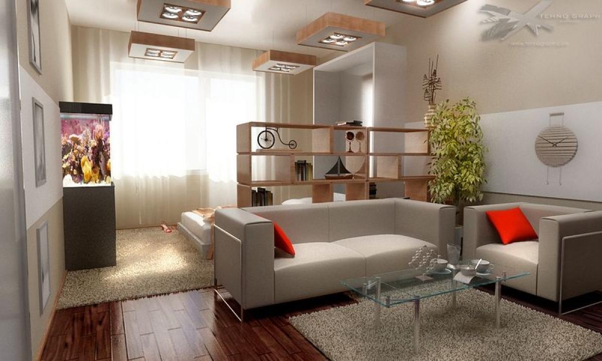 дизайн стандартной однокомнатрой квартиры добавлением шерсти позволяет