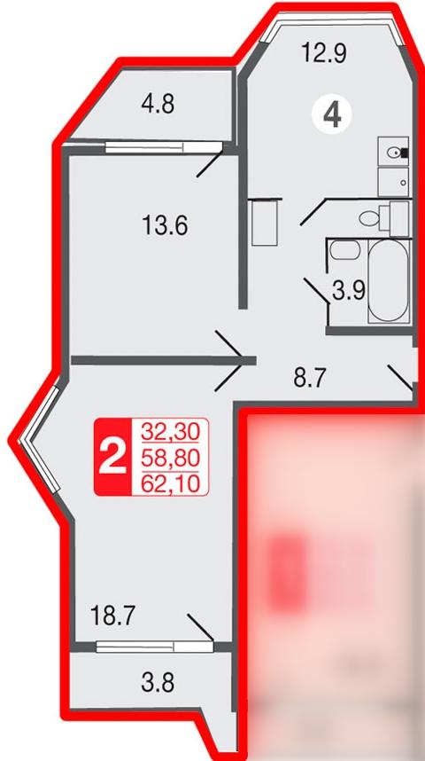 """Перепланировка двухкомнатной квартиры 58 кв.м """" картинки и ф."""