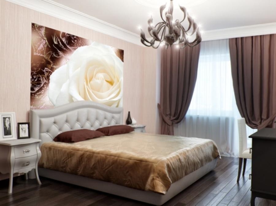 фотообои в интерьере спальни фото розы