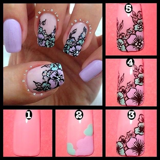 Простые рисунки на ногтях для начинающих Фото пошаговые