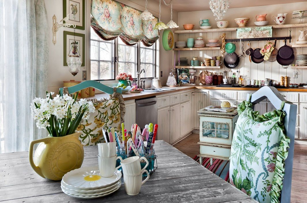 Дизайн кухни в стиле шебби шик фото