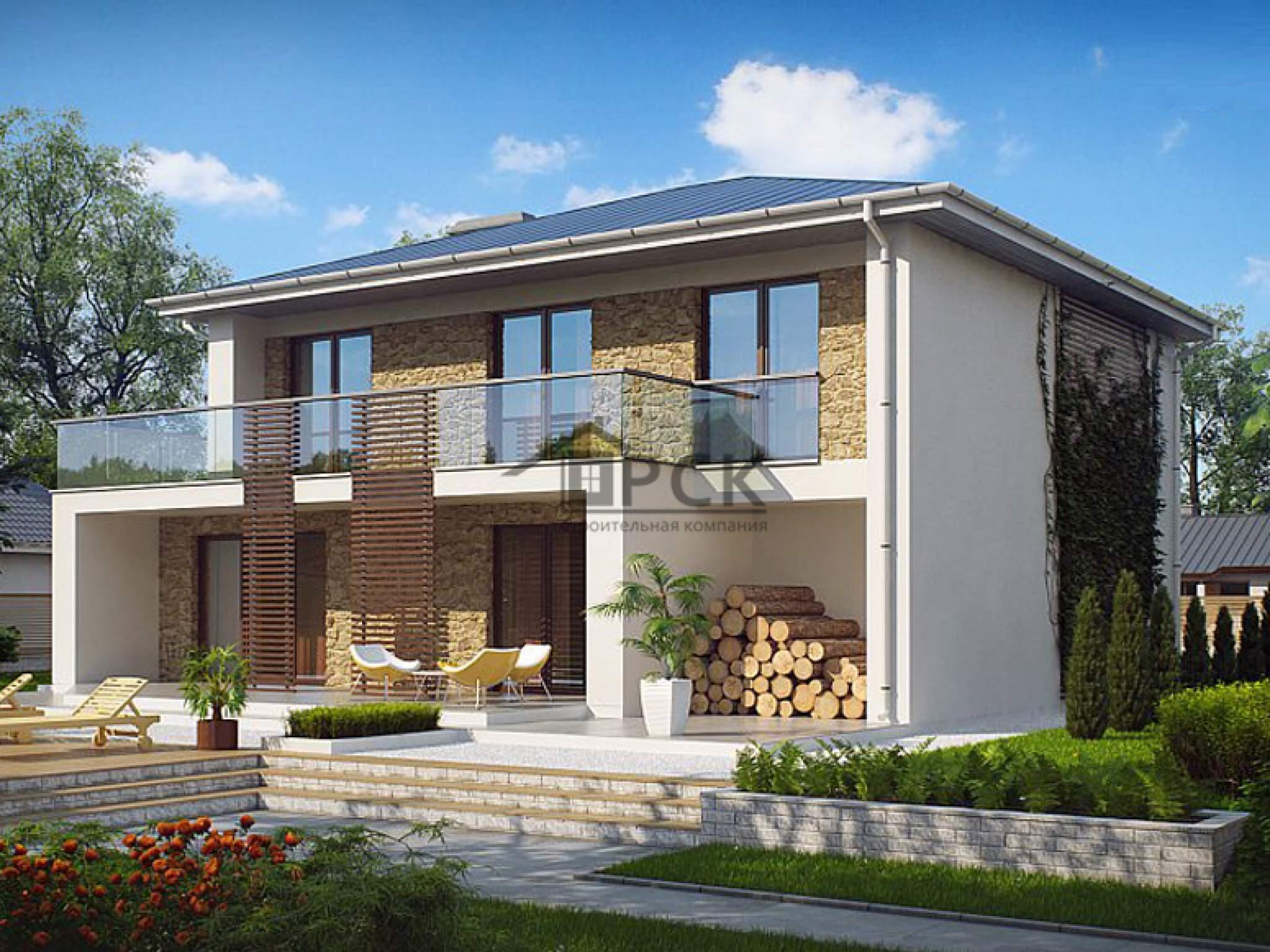 Проект двухэтажного дома с балконом и гаражом zx55.