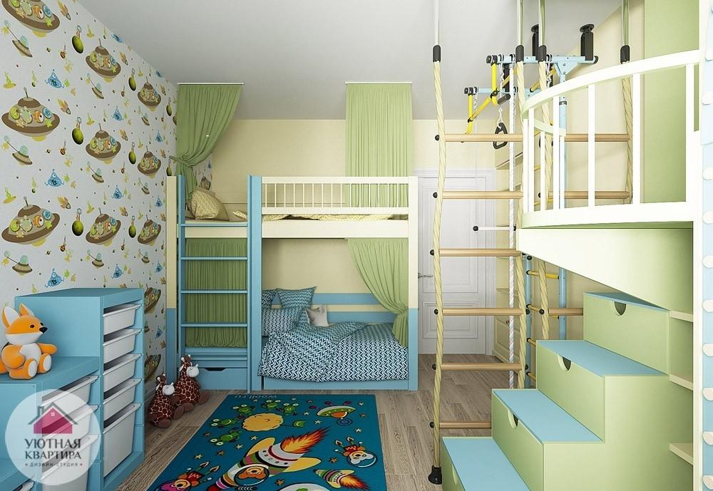 Детская для двоих детей с двухэтажной кроватью фото.