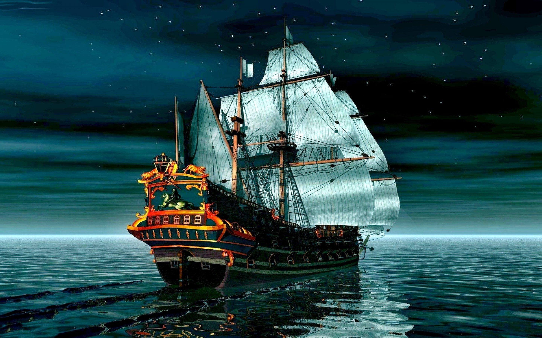 Пиратский корабль на спокойное море обои 1920x1200 скачать о.
