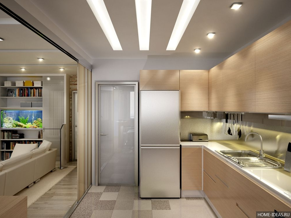 Дизайн прямоугольной кухни - 22 фото.