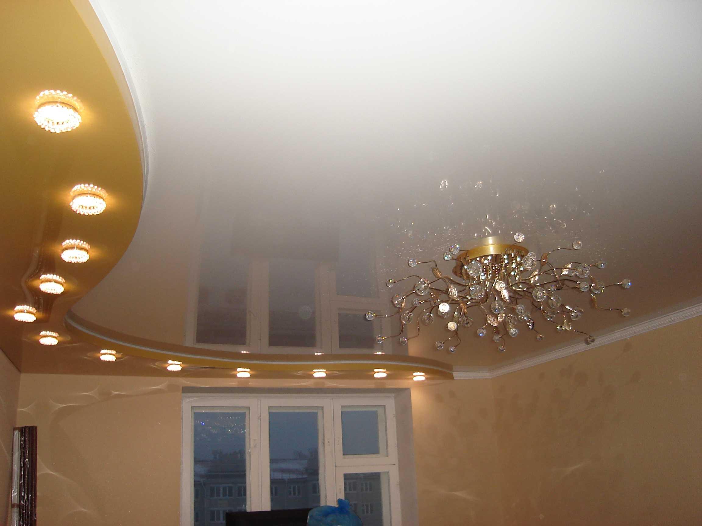 натяжные потолки для зала двухуровневые фото