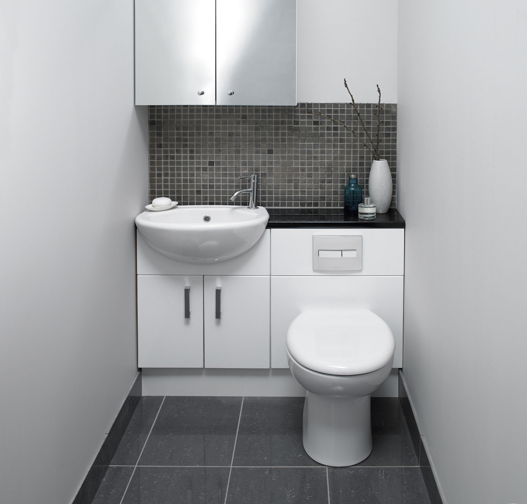 Dark cabinet bathroom