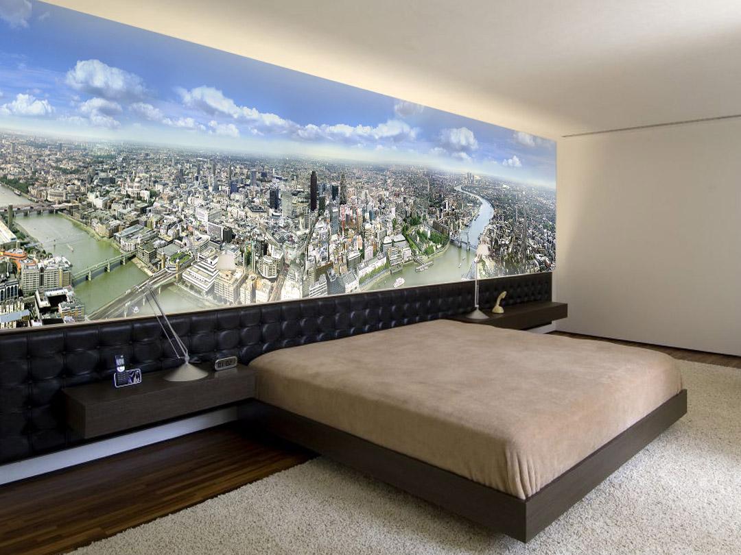 Дизайн гостиной с фотообоями - фото в современном стиле.