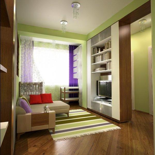 Современный дизайн комнаты с балконом.