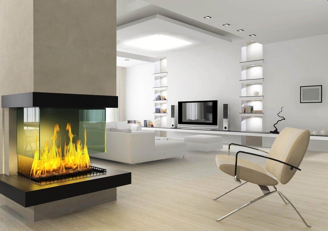 Дизайн камина в гостиной в современном стиле