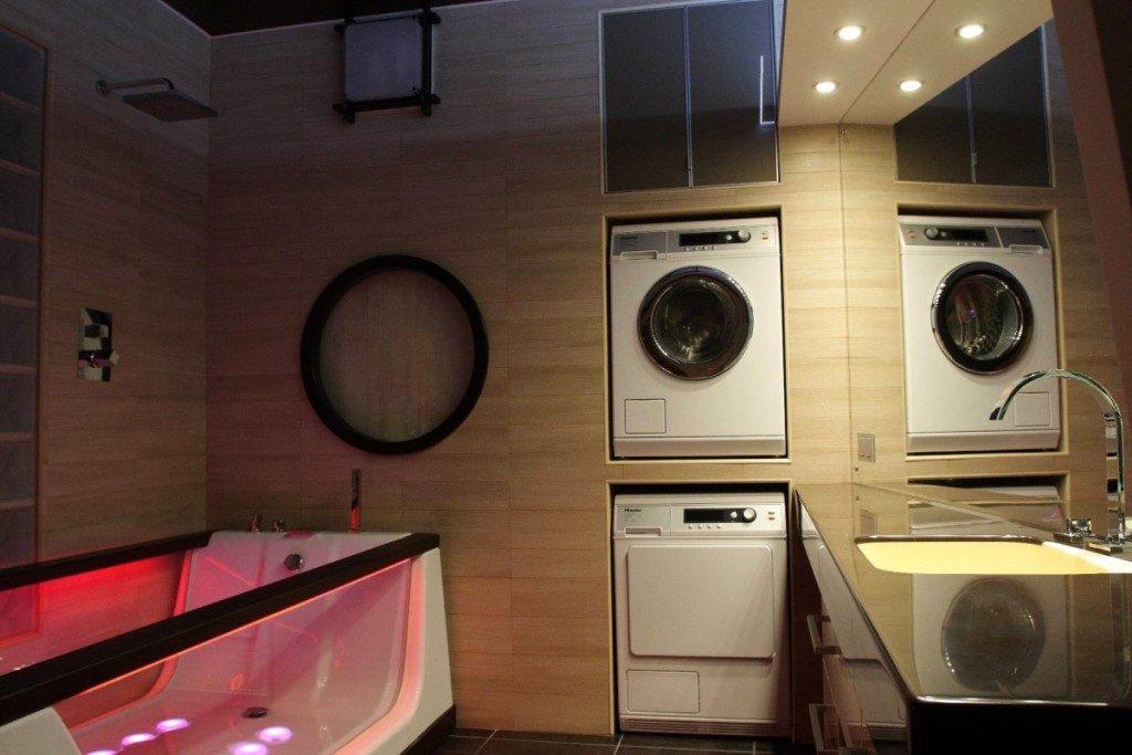Как разместить стиральную машину в маленькой ванной (фото)