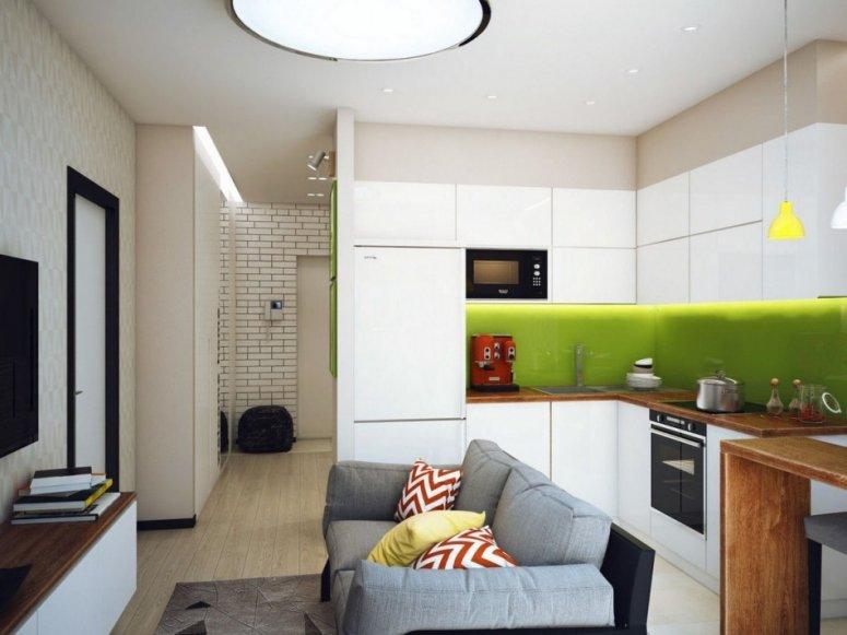 Кухня-гостиная 20 кв. м. Удачное зонирование и функциональная планировка