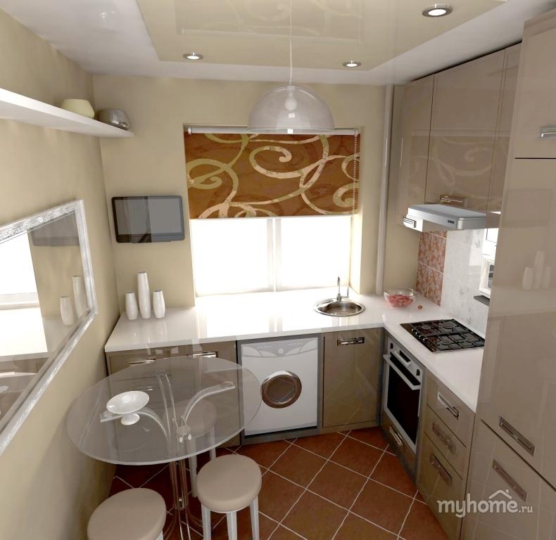 Компактный интерьер кухни