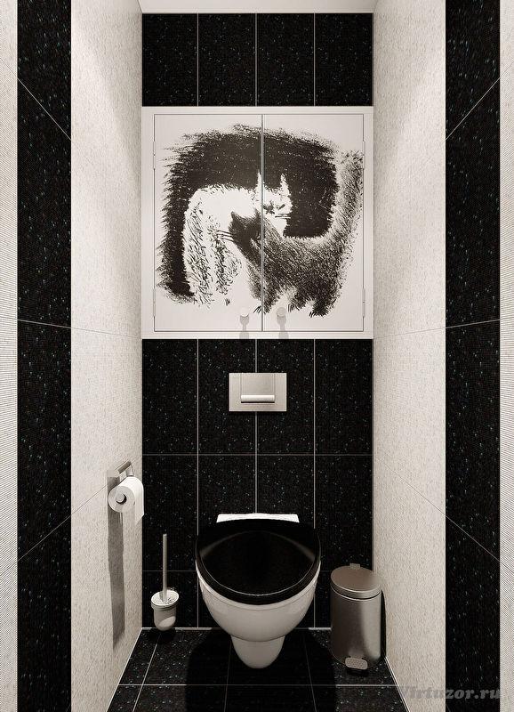Дизайн туалет маленький черно-белый