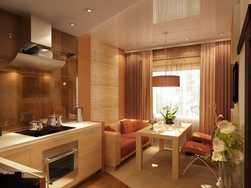 Дизайн кухни 12 кв.м с диваном и выходом на балкон