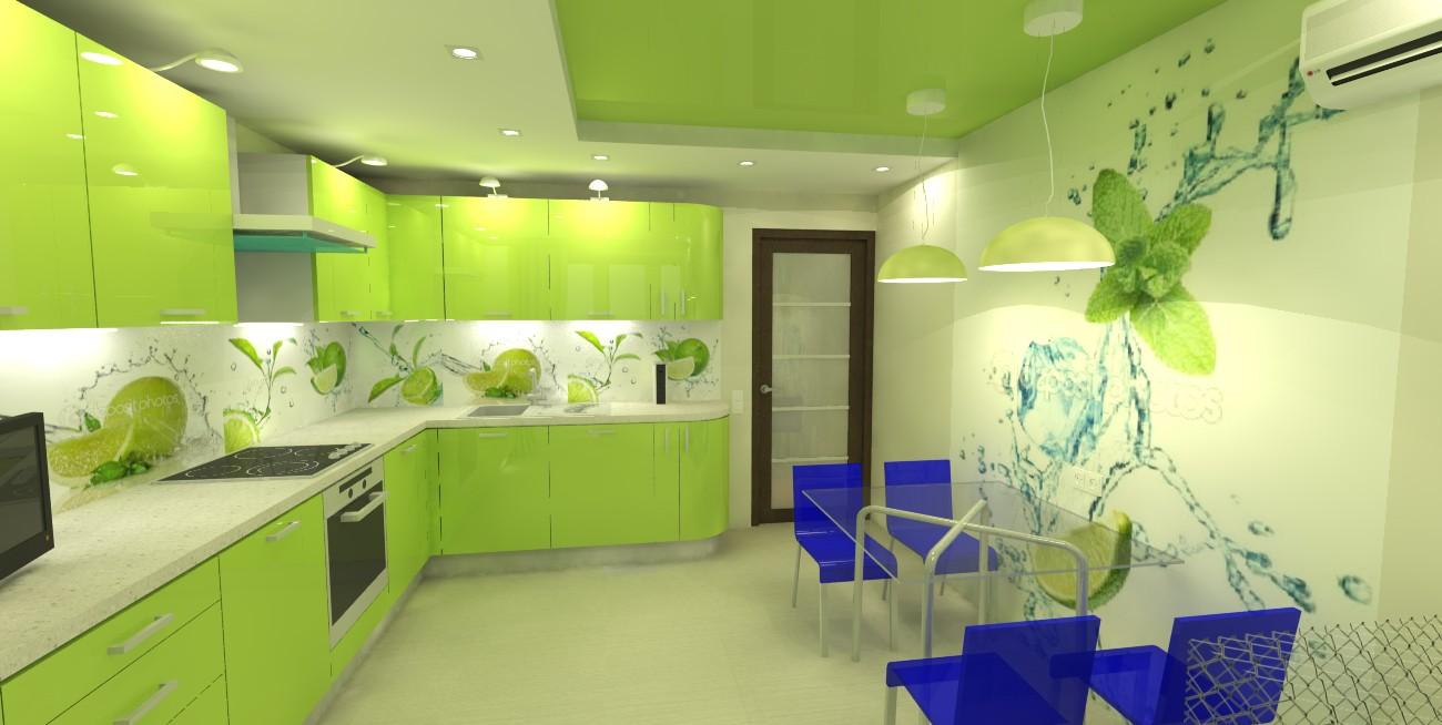Интерьер кухни в зелёном цвете фото