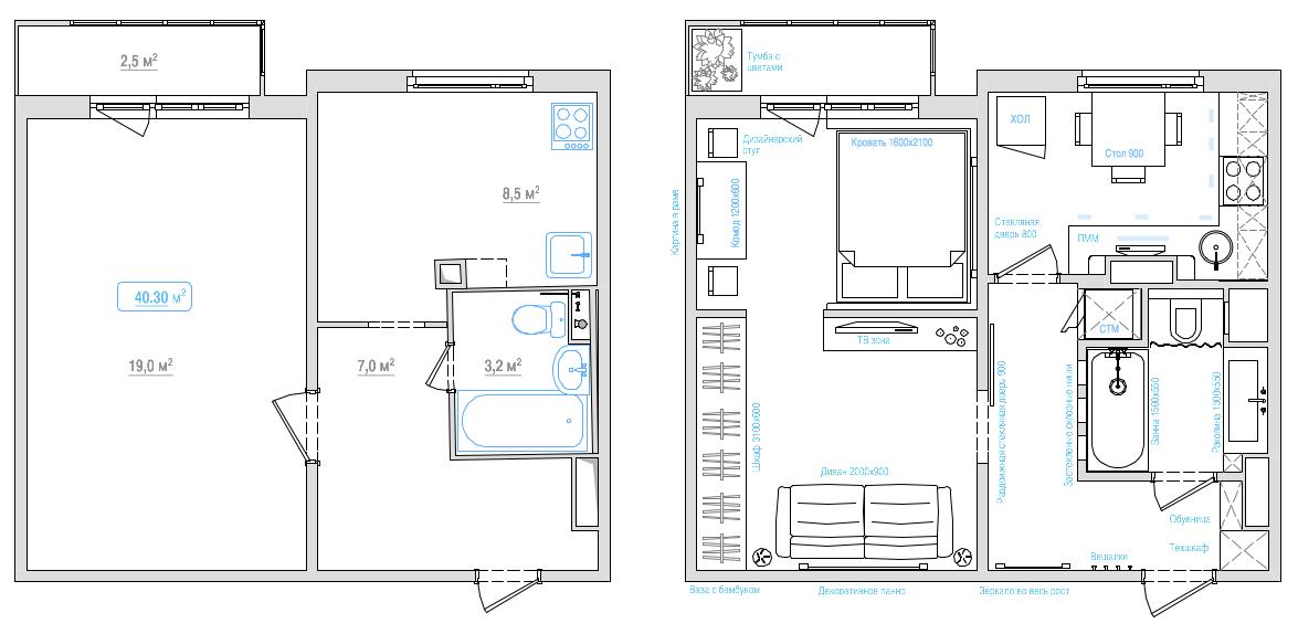 Дизайн однокомнатной квартиры серии п-44