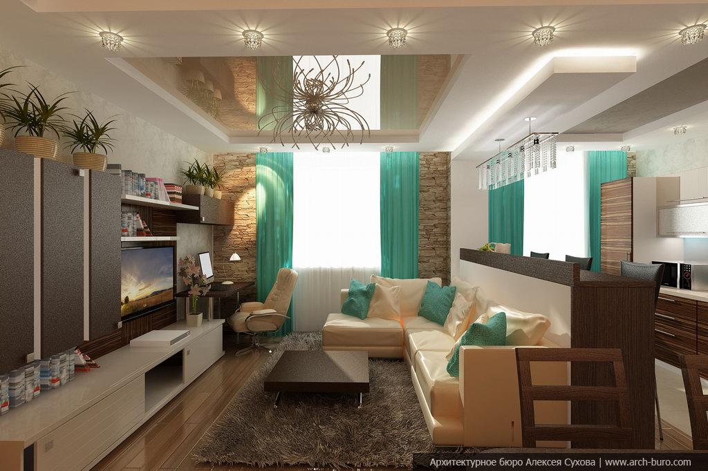 Дизайн квартир совмещенная кухня с залом