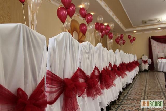 Украшение зала на свадьбу фатином