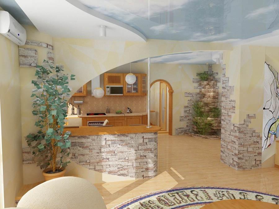 Совмещенные кухни с залом своими руками