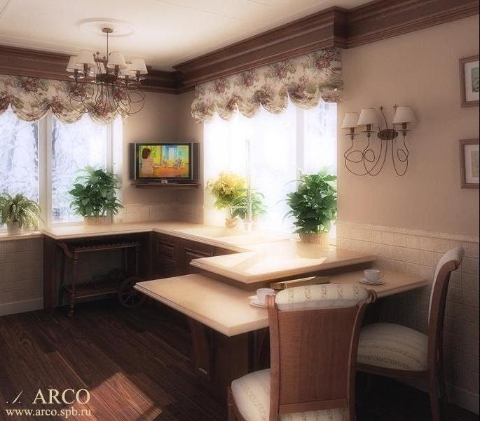Дизайн кухни с двумя окнами и балконом