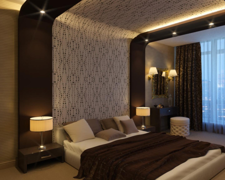 Спальня дизайн шоколадные тона 70