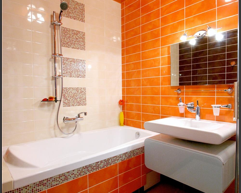 Дизайн ванной комнаты в оранжевых тонах