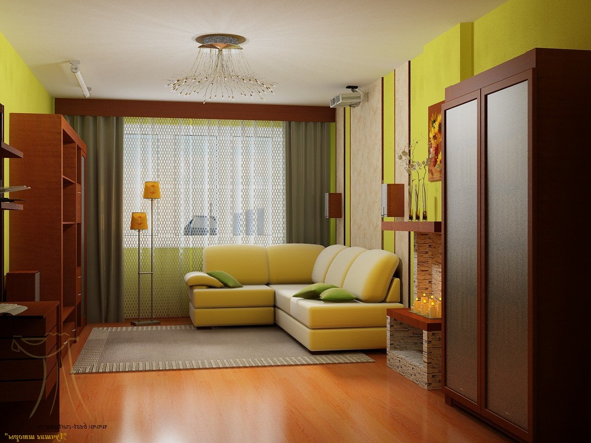 Дизайн угловой комнаты хрущевки с двумя окнами