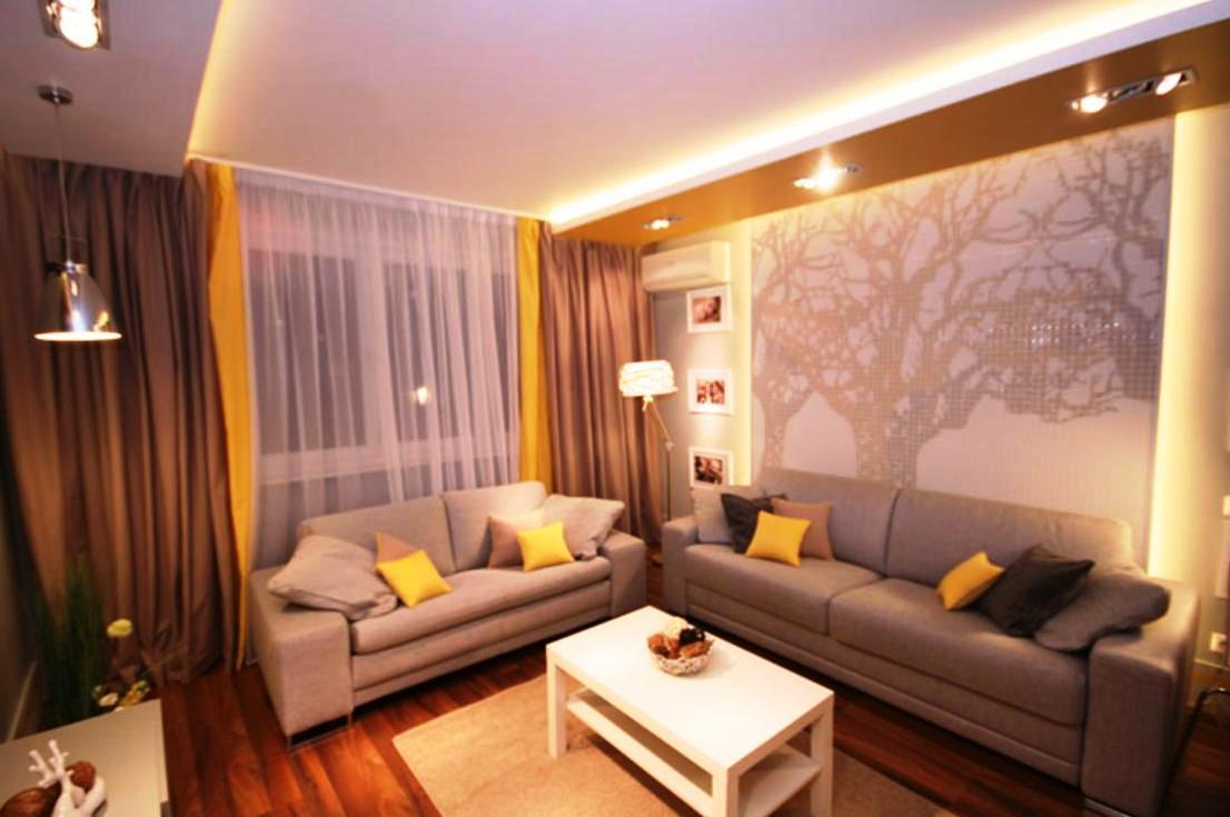 Дизайн современной гостиной 18 кв.м